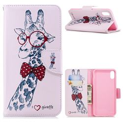 Glasses Giraffe Leather Wallet Case for iPhone XS Max (6.5 inch)