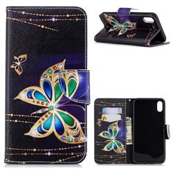 Golden Shining Butterfly Leather Wallet Case for iPhone XS Max (6.5 inch)