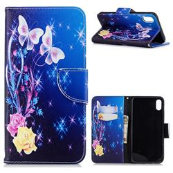 Yellow Flower Butterfly Leather Wallet Case for iPhone XS Max (6.5 inch)