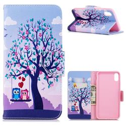Tree and Owls Leather Wallet Case for iPhone XS Max (6.5 inch)