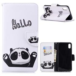 Hello Panda Leather Wallet Case for iPhone XS Max (6.5 inch)