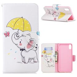 Umbrella Elephant Leather Wallet Case for iPhone XS Max (6.5 inch)
