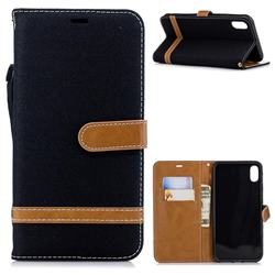 Jeans Cowboy Denim Leather Wallet Case for iPhone XS Max (6.5 inch) - Black