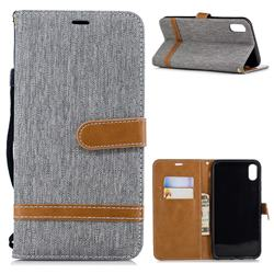 Jeans Cowboy Denim Leather Wallet Case for iPhone XS Max (6.5 inch) - Gray