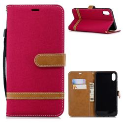 Jeans Cowboy Denim Leather Wallet Case for iPhone XS Max (6.5 inch) - Red