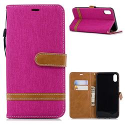 Jeans Cowboy Denim Leather Wallet Case for iPhone XS Max (6.5 inch) - Rose