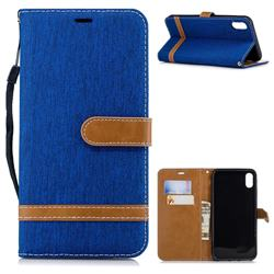 Jeans Cowboy Denim Leather Wallet Case for iPhone XS Max (6.5 inch) - Sapphire