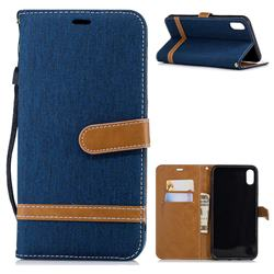Jeans Cowboy Denim Leather Wallet Case for iPhone XS Max (6.5 inch) - Dark Blue
