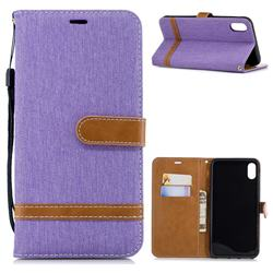 Jeans Cowboy Denim Leather Wallet Case for iPhone XS Max (6.5 inch) - Purple
