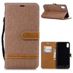 Jeans Cowboy Denim Leather Wallet Case for iPhone XS Max (6.5 inch) - Brown