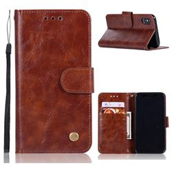 Luxury Retro Leather Wallet Case for iPhone XS Max (6.5 inch) - Brown