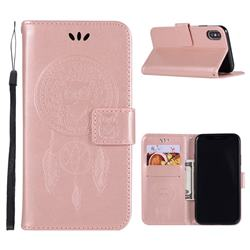 Intricate Embossing Owl Campanula Leather Wallet Case for iPhone XS Max (6.5 inch) - Rose Gold