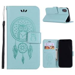 Intricate Embossing Owl Campanula Leather Wallet Case for iPhone XS Max (6.5 inch) - Green