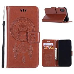 Intricate Embossing Owl Campanula Leather Wallet Case for iPhone XS Max (6.5 inch) - Brown