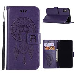 Intricate Embossing Owl Campanula Leather Wallet Case for iPhone XS Max (6.5 inch) - Purple