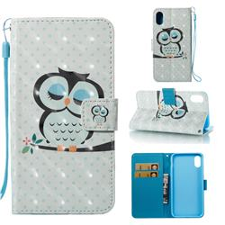 Sweet Owl 3D Painted Leather Wallet Case for iPhone XS Max (6.5 inch)