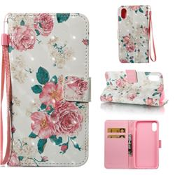 Chinese Rose 3D Painted Leather Wallet Case for iPhone XS Max (6.5 inch)