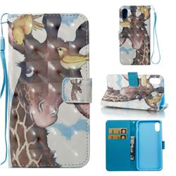 Birds Giraffe 3D Painted Leather Wallet Case for iPhone XS Max (6.5 inch)