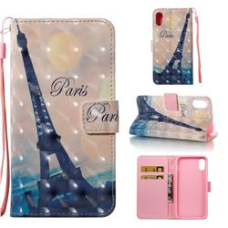Leaning Eiffel Tower 3D Painted Leather Wallet Case for iPhone XS Max (6.5 inch)
