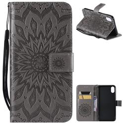 Embossing Sunflower Leather Wallet Case for iPhone XS Max (6.5 inch) - Gray