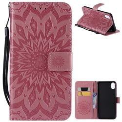 Embossing Sunflower Leather Wallet Case for iPhone XS Max (6.5 inch) - Pink
