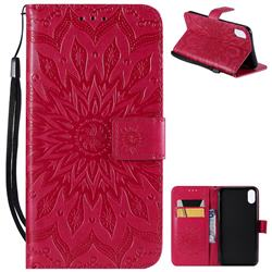 Embossing Sunflower Leather Wallet Case for iPhone XS Max (6.5 inch) - Red