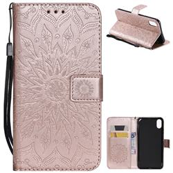 Embossing Sunflower Leather Wallet Case for iPhone XS Max (6.5 inch) - Rose Gold
