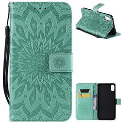 Embossing Sunflower Leather Wallet Case for iPhone XS Max (6.5 inch) - Green