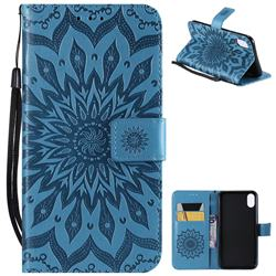 Embossing Sunflower Leather Wallet Case for iPhone XS Max (6.5 inch) - Blue