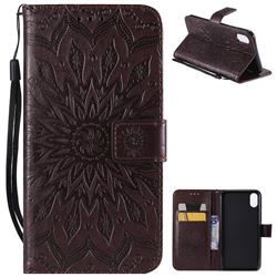 Embossing Sunflower Leather Wallet Case for iPhone XS Max (6.5 inch) - Brown