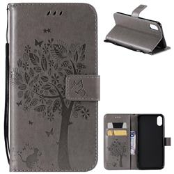 Embossing Butterfly Tree Leather Wallet Case for iPhone XS Max (6.5 inch) - Grey