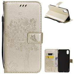 Embossing Butterfly Tree Leather Wallet Case for iPhone XS Max (6.5 inch) - Champagne