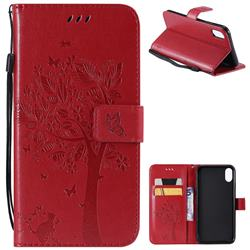 Embossing Butterfly Tree Leather Wallet Case for iPhone XS Max (6.5 inch) - Red
