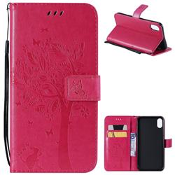 Embossing Butterfly Tree Leather Wallet Case for iPhone XS Max (6.5 inch) - Rose