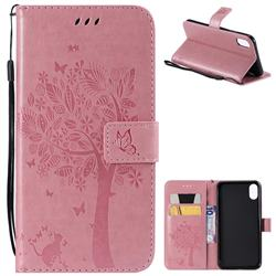 Embossing Butterfly Tree Leather Wallet Case for iPhone XS Max (6.5 inch) - Pink