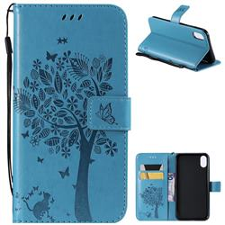 Embossing Butterfly Tree Leather Wallet Case for iPhone XS Max (6.5 inch) - Blue