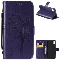 Embossing Butterfly Tree Leather Wallet Case for iPhone XS Max (6.5 inch) - Purple