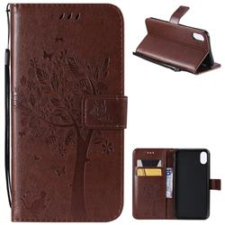Embossing Butterfly Tree Leather Wallet Case for iPhone XS Max (6.5 inch) - Coffee