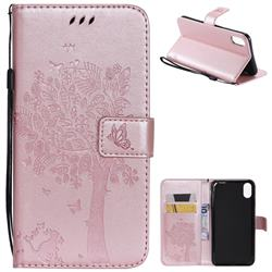 Embossing Butterfly Tree Leather Wallet Case for iPhone XS Max (6.5 inch) - Rose Pink