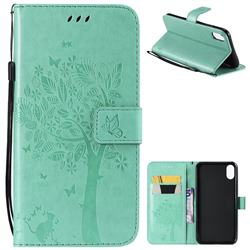 Embossing Butterfly Tree Leather Wallet Case for iPhone XS Max (6.5 inch) - Cyan