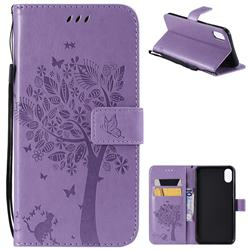 Embossing Butterfly Tree Leather Wallet Case for iPhone XS Max (6.5 inch) - Violet