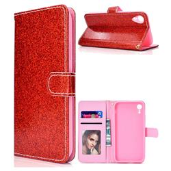 Glitter Shine Leather Wallet Phone Case for iPhone XS Max (6.5 inch) - Red