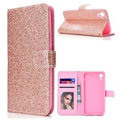 Glitter Shine Leather Wallet Phone Case for iPhone XS Max (6.5 inch) - Rose Gold