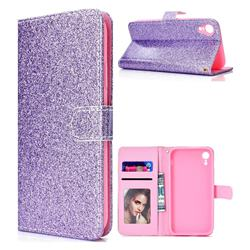 Glitter Shine Leather Wallet Phone Case for iPhone XS Max (6.5 inch) - Purple