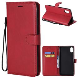 Retro Greek Classic Smooth PU Leather Wallet Phone Case for iPhone XS Max (6.5 inch) - Red