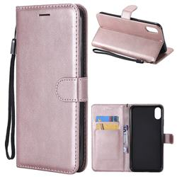 Retro Greek Classic Smooth PU Leather Wallet Phone Case for iPhone XS Max (6.5 inch) - Rose Gold
