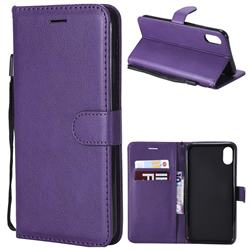 Retro Greek Classic Smooth PU Leather Wallet Phone Case for iPhone XS Max (6.5 inch) - Purple