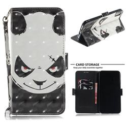 Angry Bear 3D Painted Leather Wallet Phone Case for iPhone XS Max (6.5 inch)