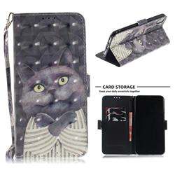 Cat Embrace 3D Painted Leather Wallet Phone Case for iPhone XS Max (6.5 inch)