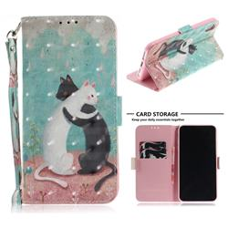 Black and White Cat 3D Painted Leather Wallet Phone Case for iPhone XS Max (6.5 inch)